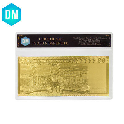 24k Gold Foil Oman World Paper Money Christmas Souvenir Gifts Bill Note with COA