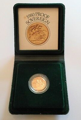 1980  Gold Proof Sovereign. Cased in box with COA.