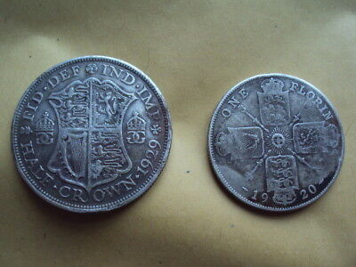 2 X Vintage King George V Silver ? Half Crown And Florin Coins !!