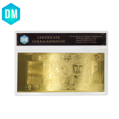 NICE Engraved Oman Gold Banknote 20 Rial 999 24K Gold Foil Plated Money with COA