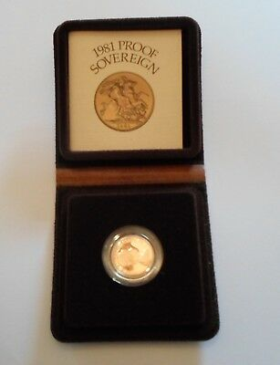1981  Gold Proof Sovereign. Cased in box with COA.