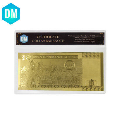 OMAN Gold Banknotes 10 Rial Banknotes In 24k Gold Foil Note Money In Sleeves