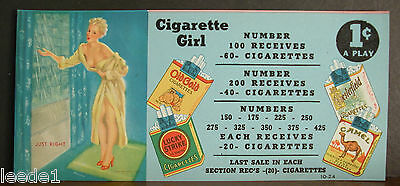 Punchboard Gaming Label Cigarette Girl D'Ancona Taking Shower Just Right