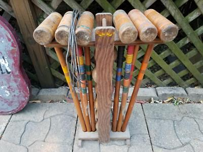 """Vintage Antique Weathered South Bend Croquet Set Wooden Ball & Stand 25"""" Mallets"""