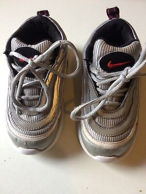 Boys Nike Air Max 97 Silver Trainers Size 7.5 Uk Infants