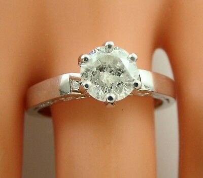 1.10 ct solitaire real diamond wedding engagement ring 14k white gold ring