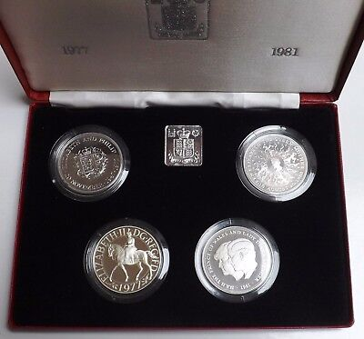 1972-1981 Four Silver Proof Five Pounds In Red Box And Coa