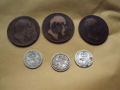 Small Collection Of 6 X King Edward Vii Penny / Threepence Coins !!