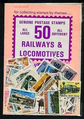 50 World Railways & Locomotives Stamps