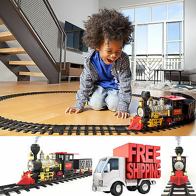 Classic Train Set Real Smoke Authentic Lights Sounds Christmas Tracks Holiday