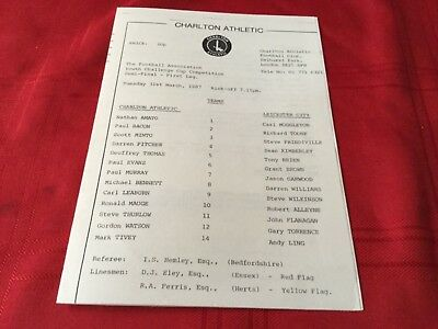 Charlton Athletic v Leicester City FA Youth Cup Semi Final 1St Leg 1987