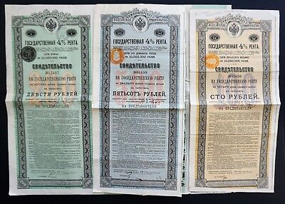 Russia - 3x 4% Imperial Russian Government 1902 - 500/200/100 roubles