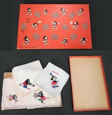 MICKEY MOUSE: Minnie Mouse HANKY SET w/ ORIGINAL BOX - COMPLETE FROM 1931 - RARE