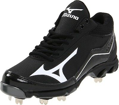 (12.5 D(M) US, Black/Black) - Mizuno Men's 9-Spike Swagger Mid Baseball Cleat