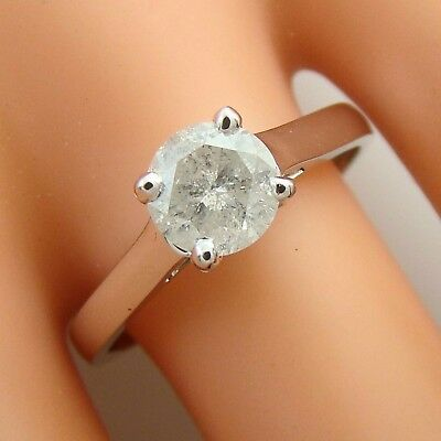 1.01 ct solitaire real diamond wedding engagement ring 18k white gold ring