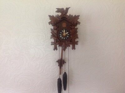 AUGUST SCHWER TRADITIONAL BLACK FOREST CUCKOO CLOCK working and In VGC