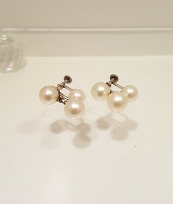 Vintage MIKIMOTO Triple Cultured PEARL SILVER Screwback Dangle EARRINGS 7-8mm