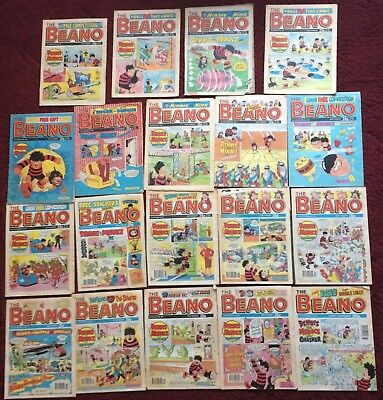 Vintage Beano Comics from 1980s, 1990s Collectable & Rare, Lot of 19 Magazines
