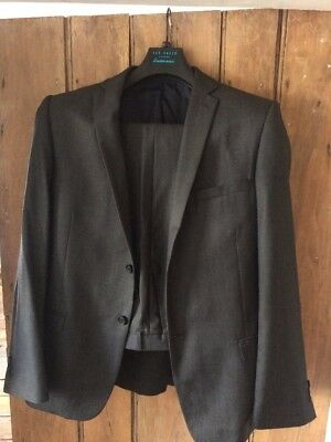 Ted Baker Suit Dark Grey Excellent Condition. Jacket 42R And Trousers 32L
