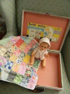 """Vintage Ideal Betsy Wetsy Doll 11"""" Vinyl, Molded Hair, Case and Quilt"""