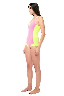 Glidesoul Women's Collection V Neck Sport One-Piece Swimsuit, Pink/Lemon, Meduim