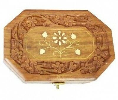 Zap Impex® Beautiful Hand Carved Rosewood Vintage ',' Vision 'Box Jewellery