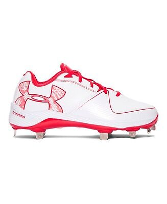 (9.5 B(M) US, White/Red) - Under Armour Women's Glyde 2.0 ST Softball Cleats