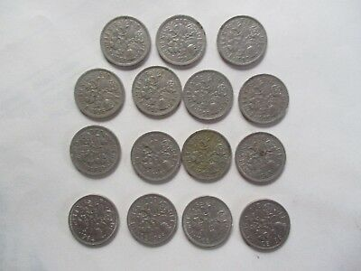 15 old six pence coins