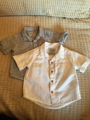 Baby Boys Next White & Blue Shirts Ages 3-6 Months