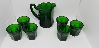 Vintage Dark Green Childs Pitcher & 6 Glasses