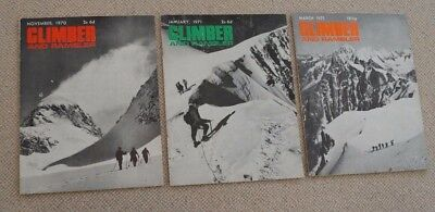 3 Copies of Vintage Climber and Rambler Magazine 1970 and 1971