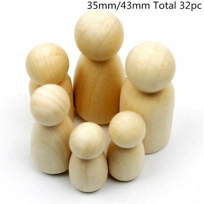 32Pc Peg Doll Girl/Boy 35mm 43mm Each Type 8pc Unfinished Wooden People Large