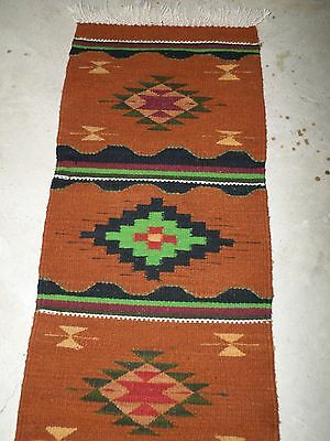 """Zapotec Indian Mexican Pure Wool Loom Woven Southwester Rug Runner Copper 16x60"""""""