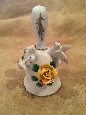 "Vintage~Bell~w- 2 Doves~Pink & Yellow Flower~5""~Collectible~Bird~Unique"