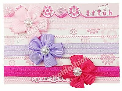 Baby Girls Pack Of 3 Headbands With Flower And Pearl Hair Bands HB49