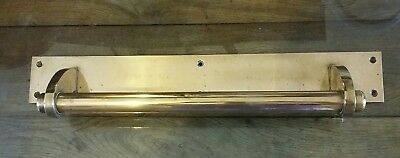 Large Vintage Reclaimed Brass Pull Door Handle On Scratch Plate