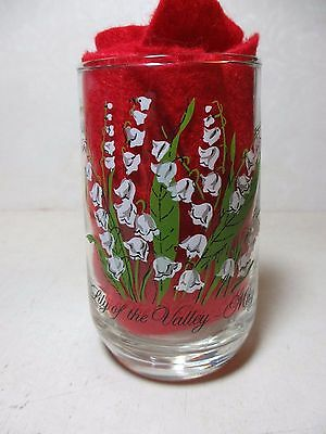 """Clear Tumbler Lily of the Valley Flower of May Pretty Glass 4 3/4"""" Tall"""