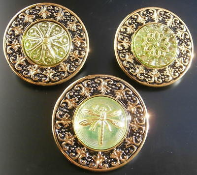 Collection of 3 Glass Buttons #G743 - RARE - LARGE (34 mm) - WOW!!!