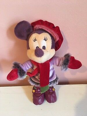 Minnie Mouse Small Disney Disneyland Paris Soft Toy Purple Winter Outfit Xmas