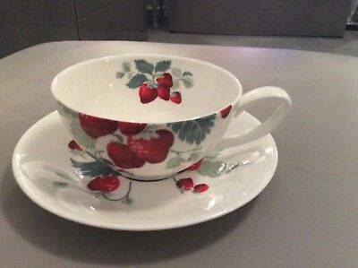 Laura Ashley Strawberry cup and saucer 2009 hand decorated