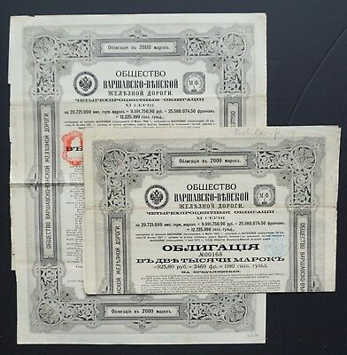 Poland/Russia - 2x Warschau Vienna Railroad 1901-4% bond for 2000 mark XI serie