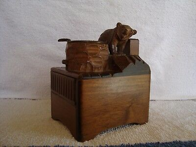 Vintage Black Forest or Swiss Carved Bear Musical Box & Smokers Companion Repair