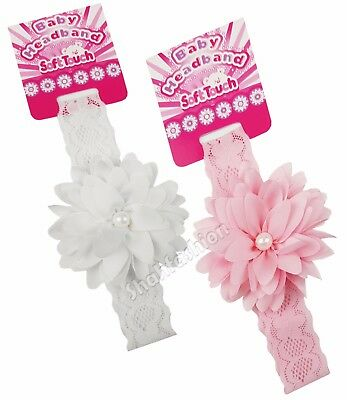 Baby Girls Lace Headbands With Matching Flower & Pearl Hair Bands HB61