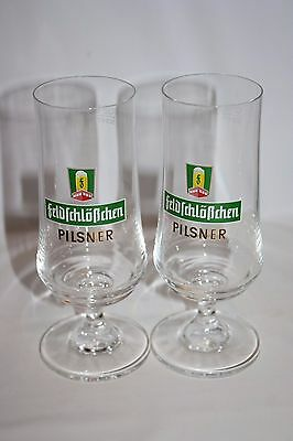 Set of 2 German Pilsner Drinking Glasses Feldfchlobchen 0.2l