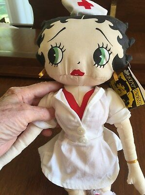 "Betty Boop ""NURSE"" Cloth Stuffed Doll 1999 By Kellytoy 18"" /New with Tag"