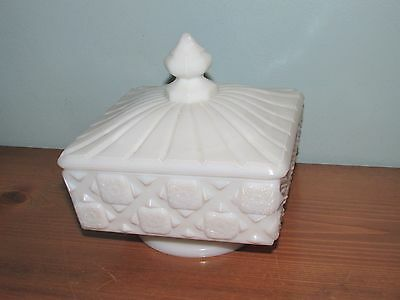 Westmoreland Milk Glass Old Quilt Pattern Marked Covered Candy Dish (J)