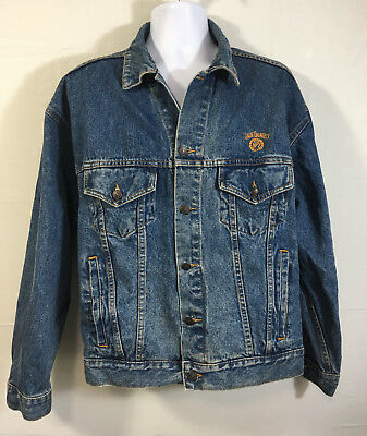 Jack Daniels Whiskey Old No. 7 Denim Jacket Mens Size Large Butterfield Stage
