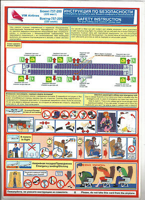 Safety Card Vim Airlines Boeing 757-200 220 seats