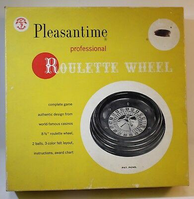 "Vintage Pleasantime Professional 8-3/8"" ROULETTE WHEEL 1958 in Original Box"