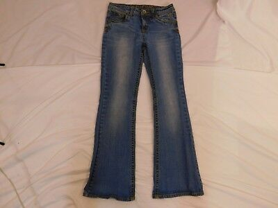 JUSTICE Girl's Sz. 12R Faded Bootcut Blue Jeans EUC